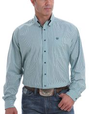 Cinch Men's Stretch Long Sleeve Stripe Button Down Shirt - Light Blue