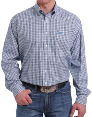 Cinch Men's Tencel Long Sleeve Plaid Button Down Shirt - White