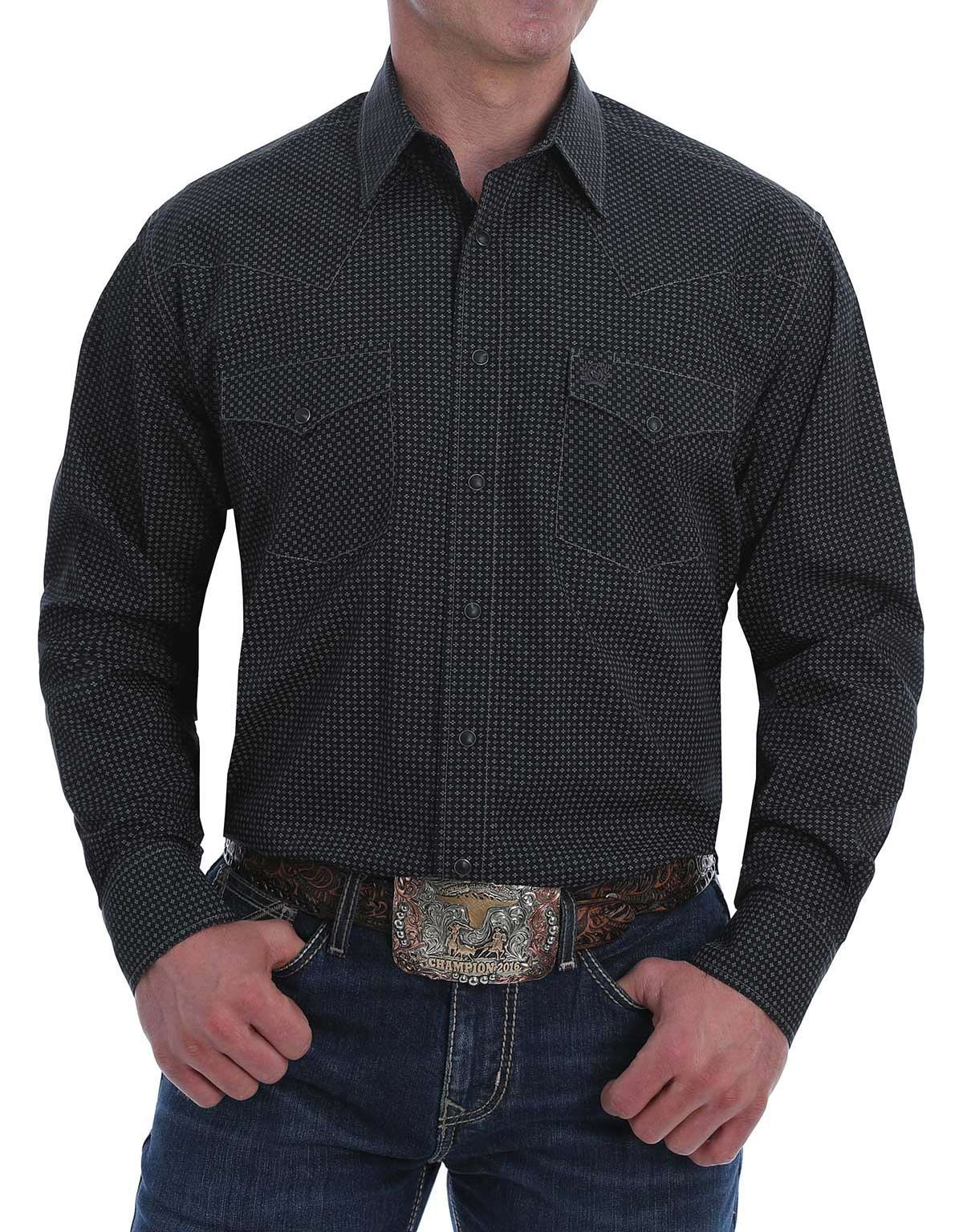 Cinch Men's Western Long Sleeve Print Snap Shirt - Black