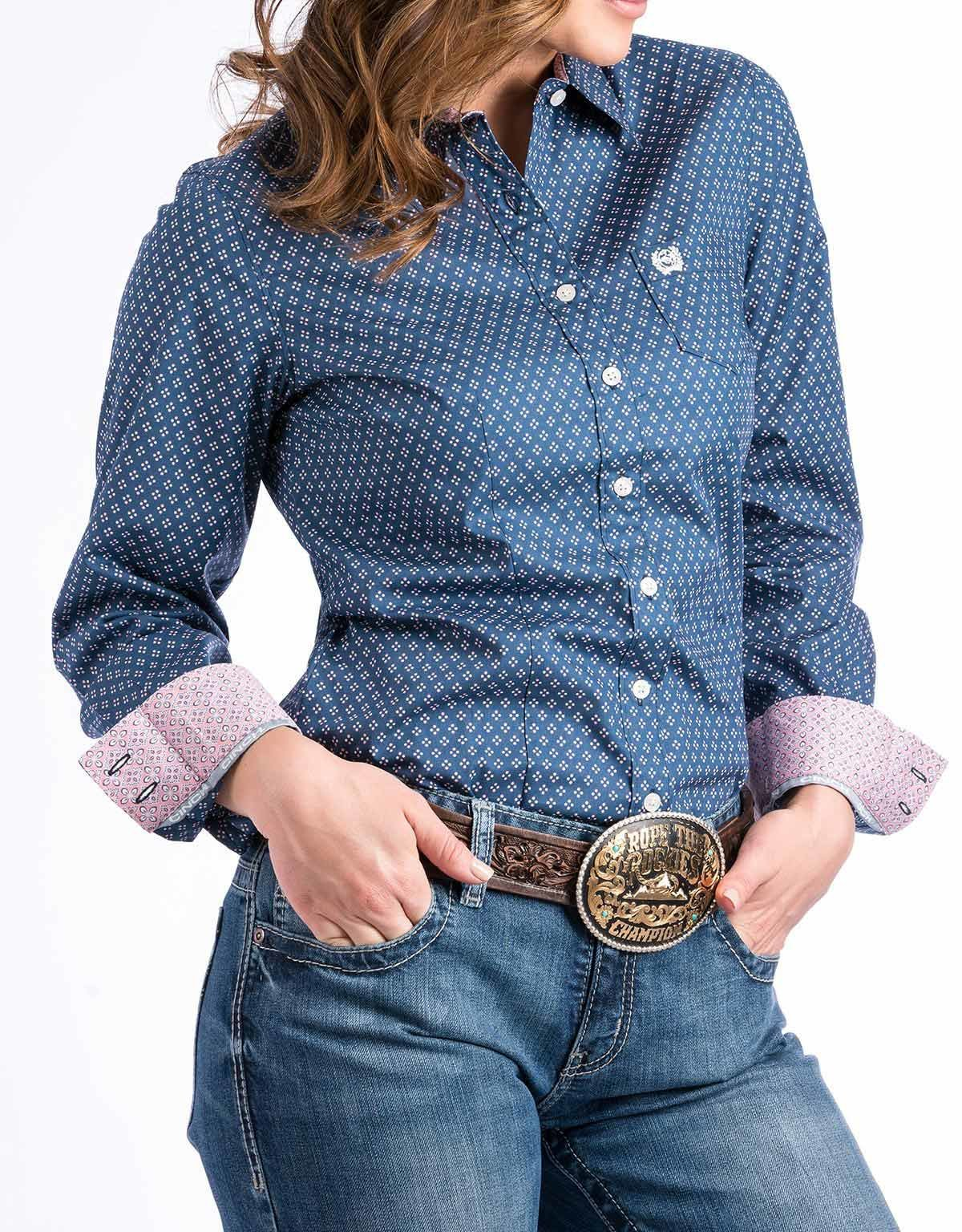 4ef4170a Cinch Women's Long Sleeve Print Button Down Shirt - Blue