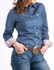 Cinch Women's Long Sleeve Print Button Down Shirt - Blue