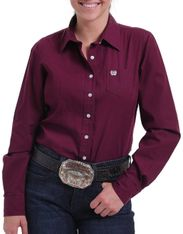Cinch Women's Long Sleeve Solid Button Down Shirt - Burgundy