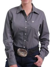 Cinch Women's Long Sleeve Solid Button Down Shirt - Grey