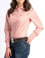 Cinch Women's Long Sleeve Stripe Button Down Shirt - Coral