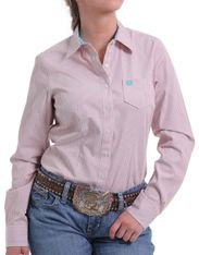 Cinch Women's Long Sleeve Stripe Button Down Shirt - Multi