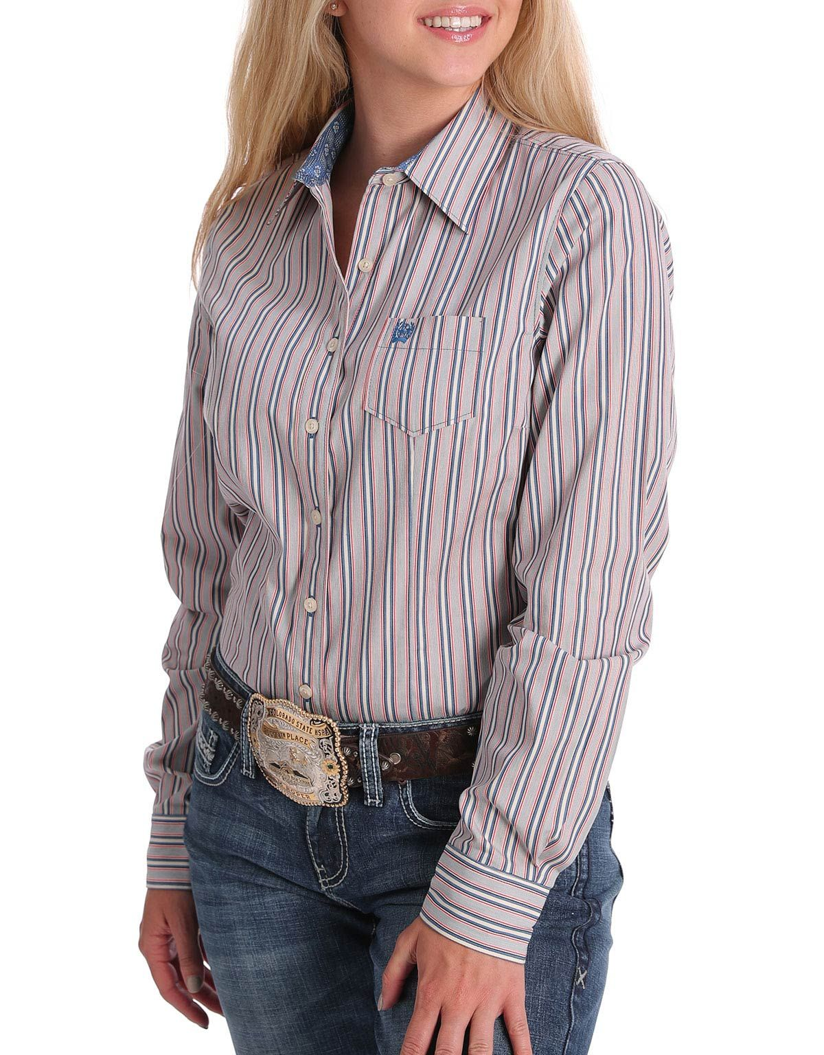 Cinch Women's Long Sleeve Stripe Button Down Shirt - Multi (Closeout)