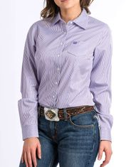 Cinch Women's Long Sleeve Stripe Button Down Shirt - Purple