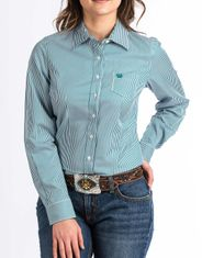 Cinch Women's Long Sleeve Stripe Button Down Shirt - Teal