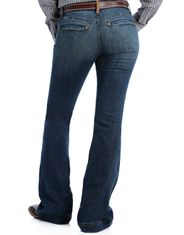 Cinch Women's Lynden Trouser Mid Rise Slim Fit Flare Leg Jeans - Medium Stonewash
