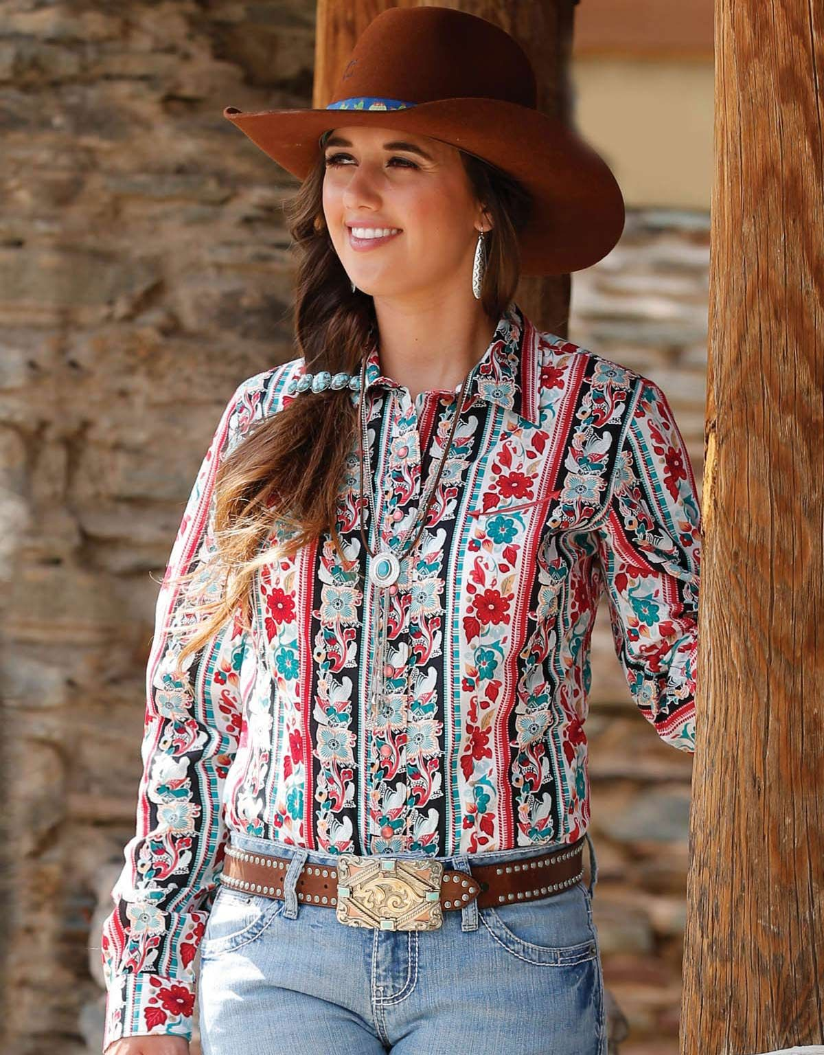 Cruel Women's Arena Fit Long Sleeve Print Snap Shirt - Multi (Closeout)