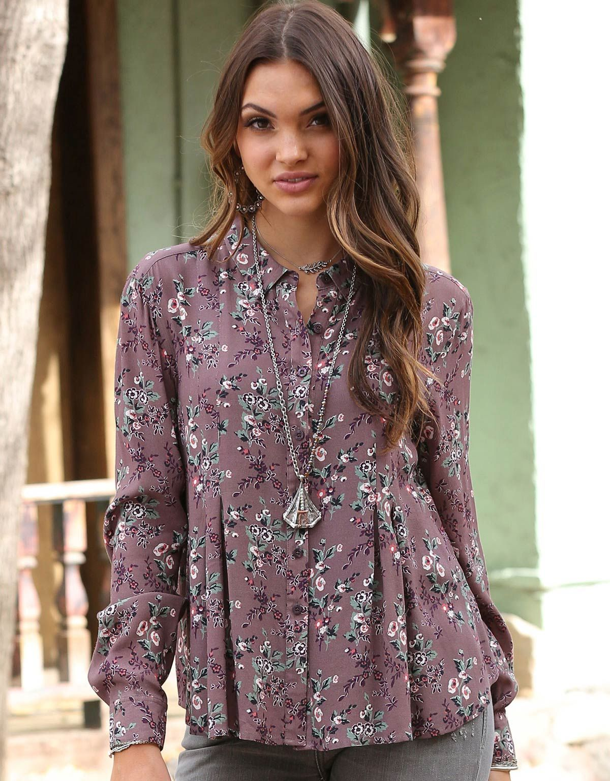 Cruel Womens Long Sleeve Print Button Down Shirt Purple