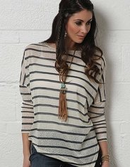 Cruel Women's Long Sleeve Stripe Top - Neutral