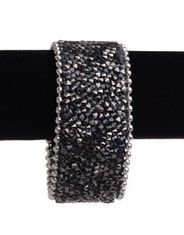 Kamberley Women's Beaded Leather Cuff Bracelet - Black
