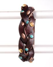 Kamberley Women's Braided Leather Cuff Bracelet - Brown