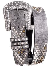 Kamberley Women's Chevron Rhinestone Leather Belt - Silver