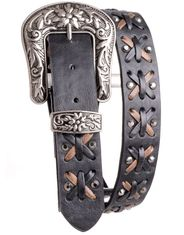 Kamberley Women's Laced Leather Belt - Black