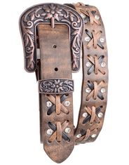 Kamberley Women's Laced Leather Belt - Brown
