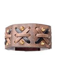 Kamberley Women's Laced Leather Cuff Bracelet - Brown