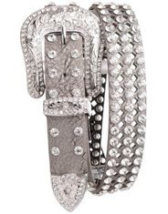 Kamberley Women's Laser Cut Rhinestone Leather Belt - Pewter