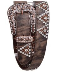 Kamberley Women's Leather Studded Rhinestone Belt - Brown