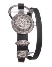 Kamberley Women's Skinny Rhinestone Concho Belt - Black or Brown