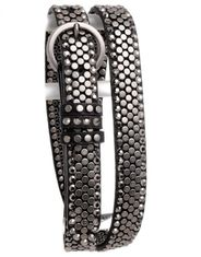 Kamberley Women's Skinny Studded Leather Belt - Black