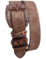 Kamberley Women's Studded Fashion Belt - Brown