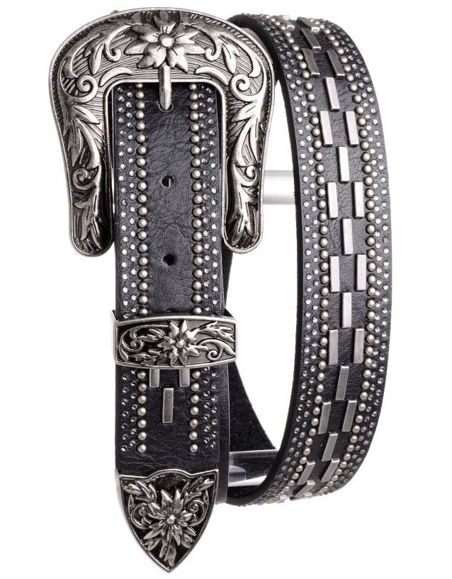 Kamberley Women's Studded Leather Belt - Black