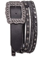 Kamberley Women's Studded Multi Strand Fashion Belt - Black