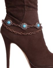 Kamberley Women's Turquoise Boot Chain - Copper
