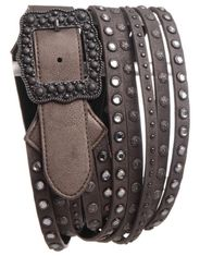 Kamberley Women's Wide Multi Strand Belt - Pewter