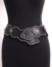 Kamberley Women's Wide Waist Studded Concho Belt - Black