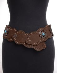 Kamberley Women's Wide Waist Studded Concho Belt - Brown