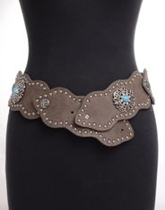 Kamberley Women's Wide Waist Studded Concho Belt - Pewter