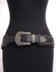 Kamberley Women's Wide Waist Studded Cross Concho Belt - Black