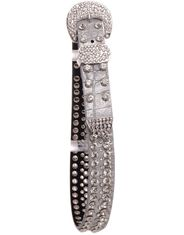 Kamberly Girl's Metallic Gator Print Rhinestone Belt - Silver