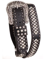 Kamberly Women's Leather Pearl Studded Rhinestone Belt - Black