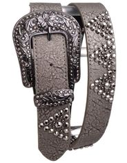Kamberly Women's Leather Studded Rhinestone Belt - Grey