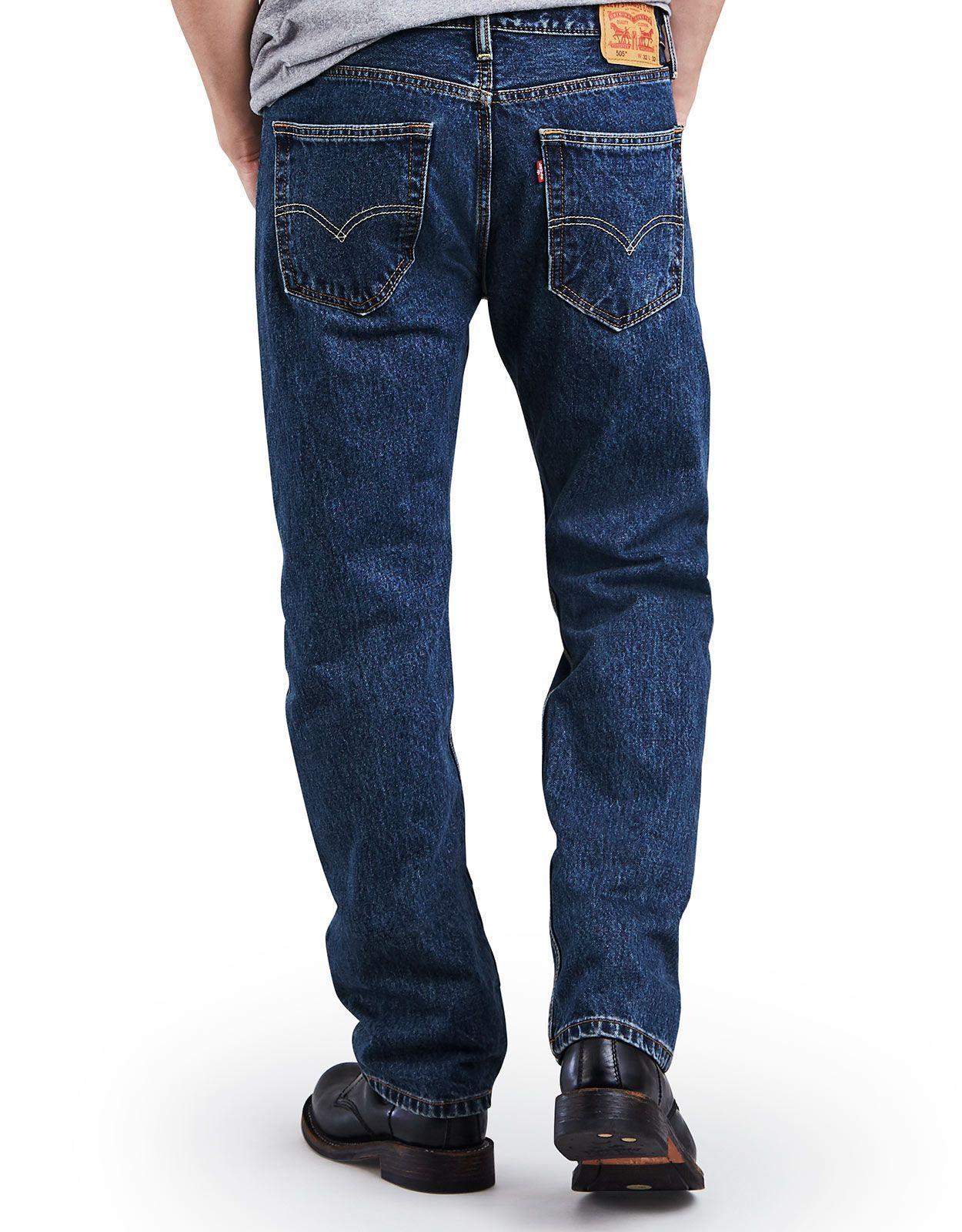 Levi's Men's 505 Regular Mid Rise Regular Fit Straight Leg Jeans - Dark Stonewash