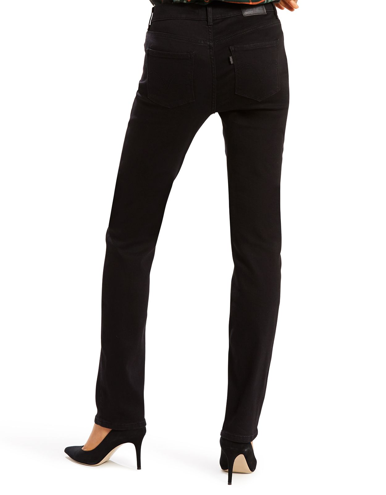 Levi's Women's Classic Straight Stretch Mid Rise Easy Fit Straight Leg Jeans - Soft Black