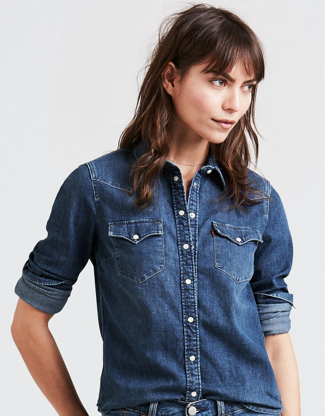 Levi s Women s Western Long Sleeve Denim Snap Shirt - Lotta Love dd53071cbd