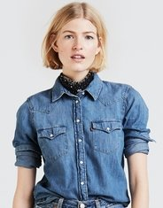 Levi's Women's Western Long Sleeve Denim Snap Shirt - Love Blue