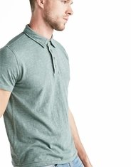 Lucky Brand Men's Short Sleeve Heather Button Polo Shirt - Green