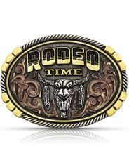 Montana Silversmiths Attitude Oval Rodeo Time Buckle - Antique Silver/Gold