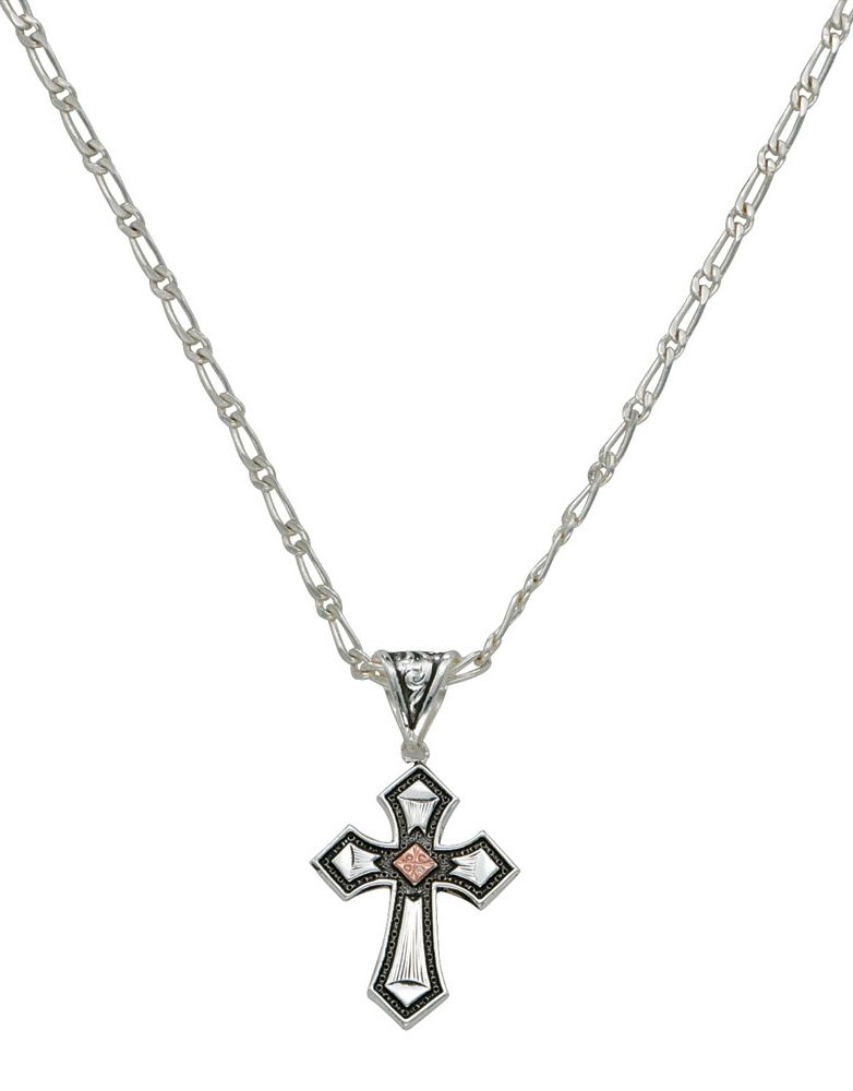 Montana Silversmiths Cross Necklace - Silver/Copper