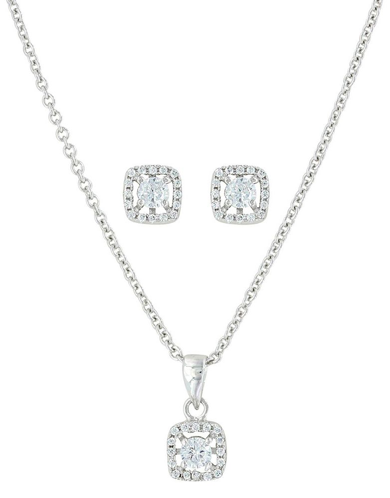 Montana Silversmiths Women's Crystal Earring and Necklace Set - Silver
