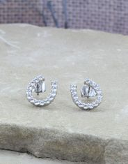 Montana Silversmiths Women's Crystal Horseshoe Earrings - Silver