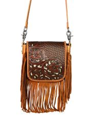 Montana West Women's Leather Crossbody Bag- Brown (Closeout)