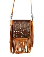 Montana West Women's Leather Crossbody Bag- Brown