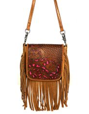 Montana West Women's Powerback Leather Crossbody Bag- Pink/Brown (Closeout)